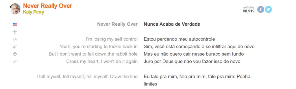 """Letra e tradução corretas da música """"Never Really Over"""" no site Letras.mus.br"""