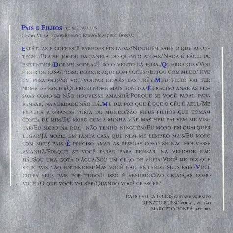 Encarte do CD As Quatro Estações, da Legião Urbana