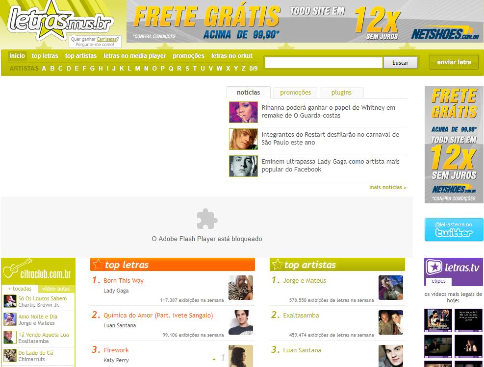 Versão do site Letras.mus.br em 2011