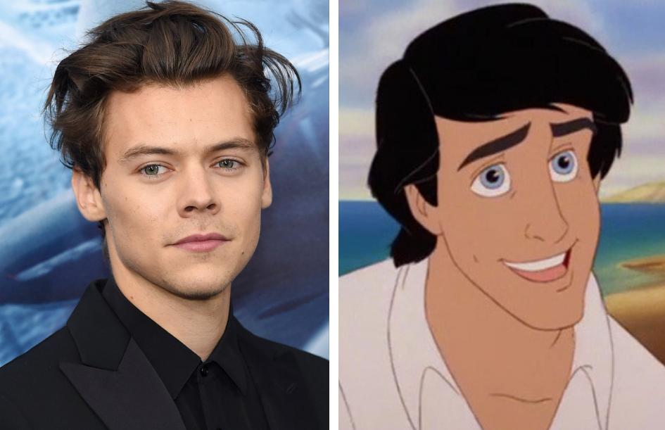 Harry Styles em comparação com Príncipe Eric, personagem de A Pequena Sereia