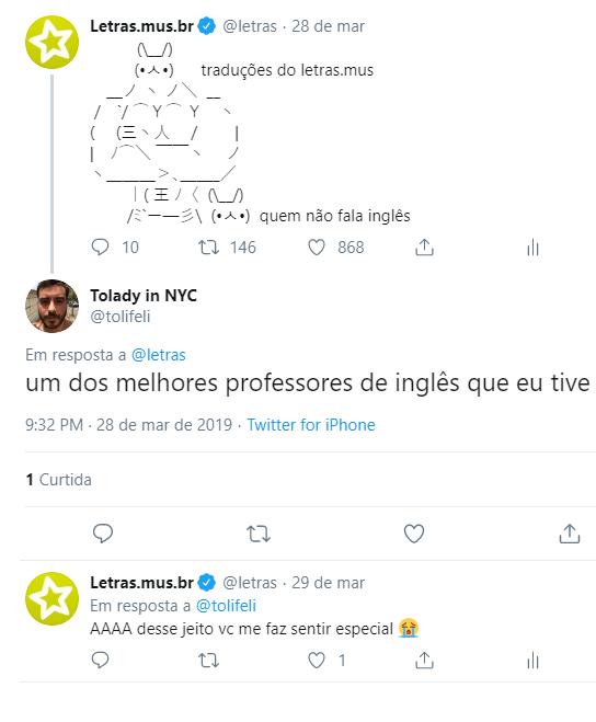Depoimento de um usuário do Letras através do Twitter