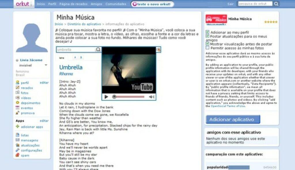 """Aplicativo """"Minha Música"""" do Letras no Orkut"""