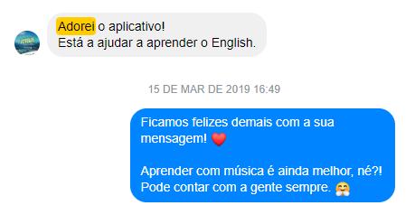 Depoimento de um usuário do Letras sobre aprender inglês
