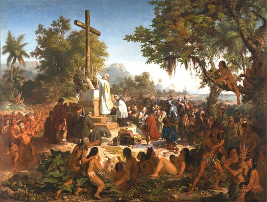 Pintura histórica Primeira Missa no Brasil do artista Victor Meirelles
