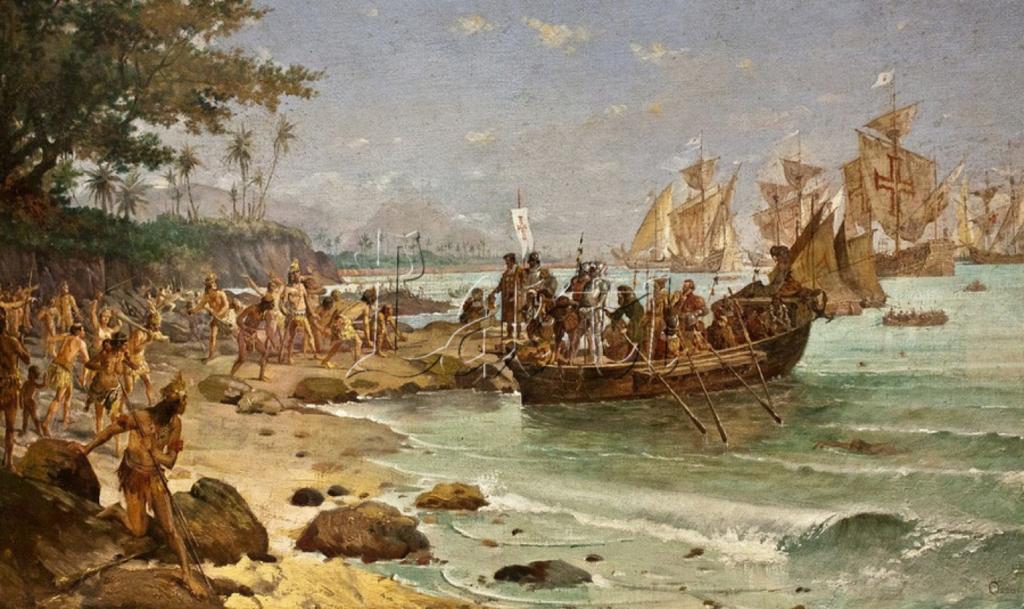 Pintura Desembarque de Pedro Álvares Cabral em Porto Seguro em 1500, do artista Oscar Pereira da Silva