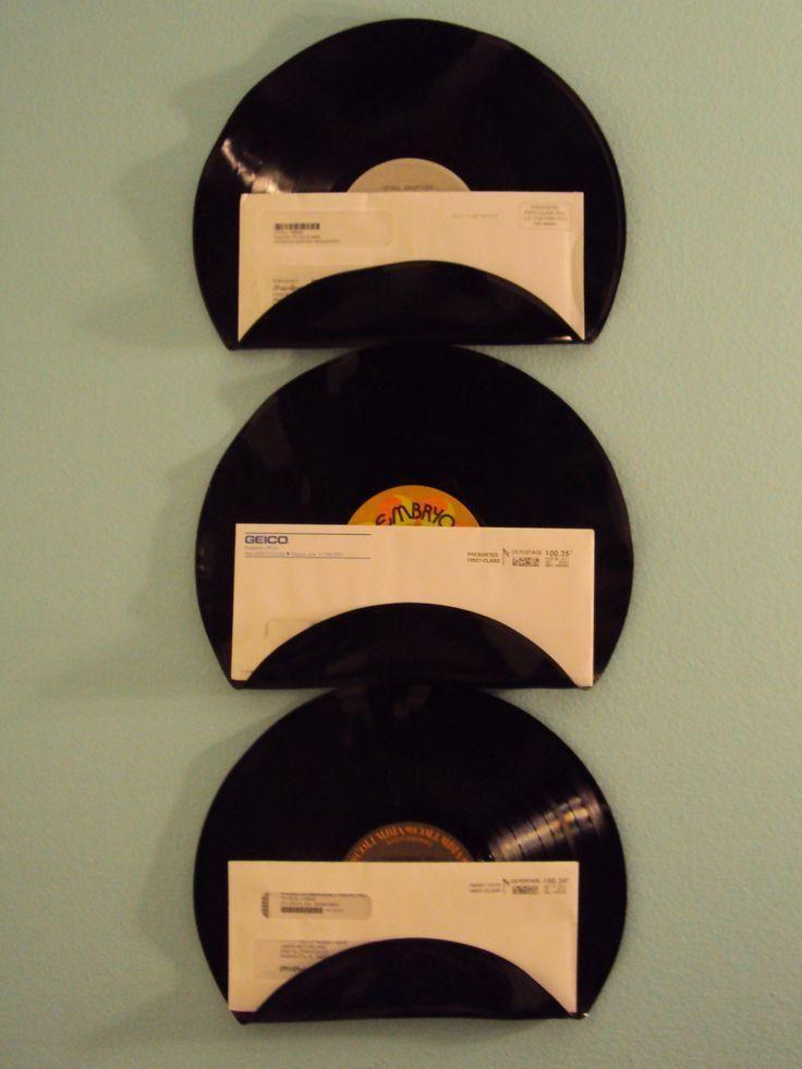 Porta cartas com disco de vinil