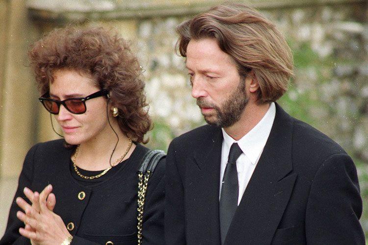 Lory Del Santo e Eric Clapton no funeral de Conor