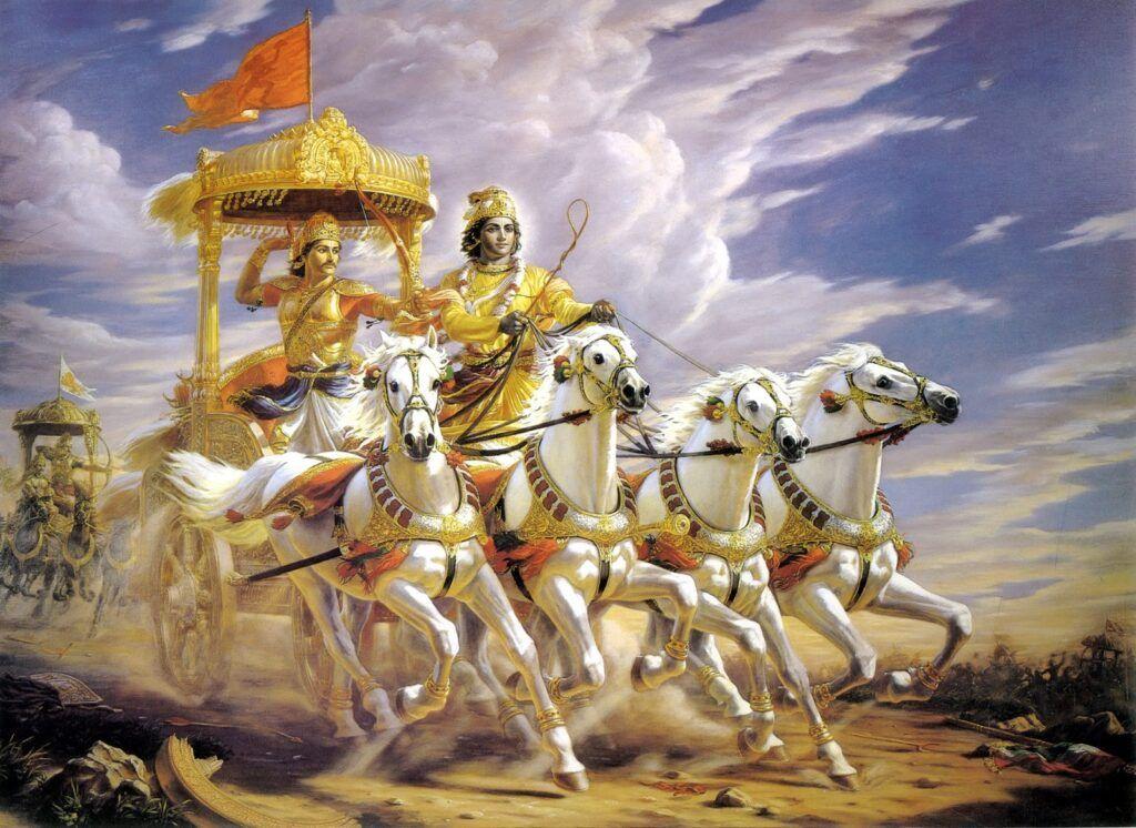 Representação de Krishna e Arjuna