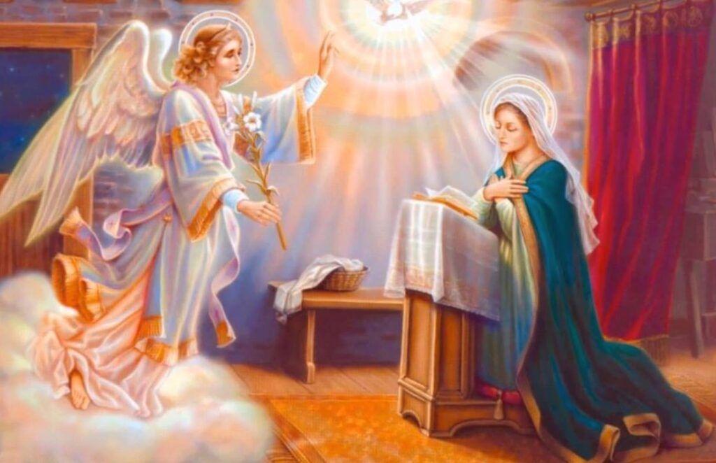 anjo gabriel e virgem maria