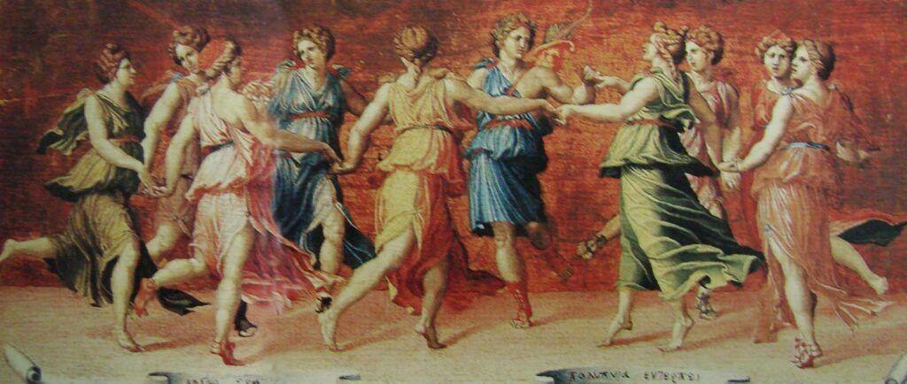 As nove musas dançam com Apolo