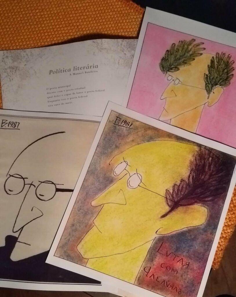 Ilustrações de Drummond feitas por Belchior
