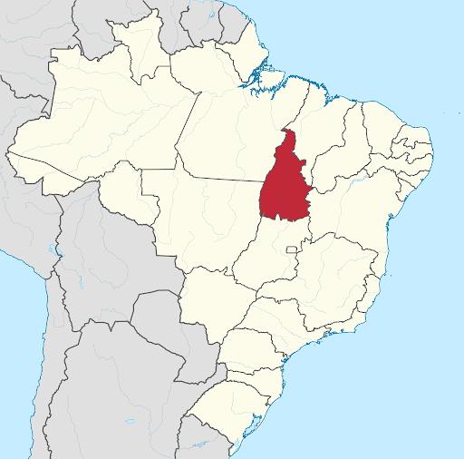 Tocantins no mapa do Brasil
