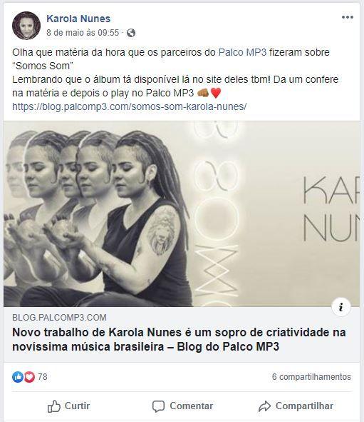 Karola Nunes usa o Facebook para divulgar as conquistas da carreira