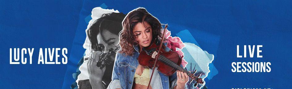 Lucy Alves posa com seu violino na capa do projeto Live Sessions