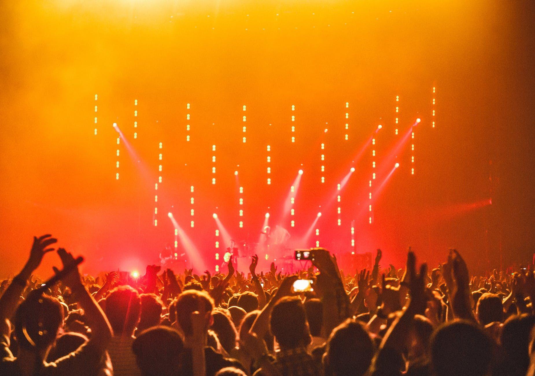 Plateia extasiada, durante um show de rock