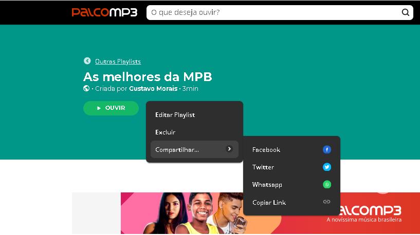 Imagem mostra aonda divulgar o link de suas playlists no Palco MP3