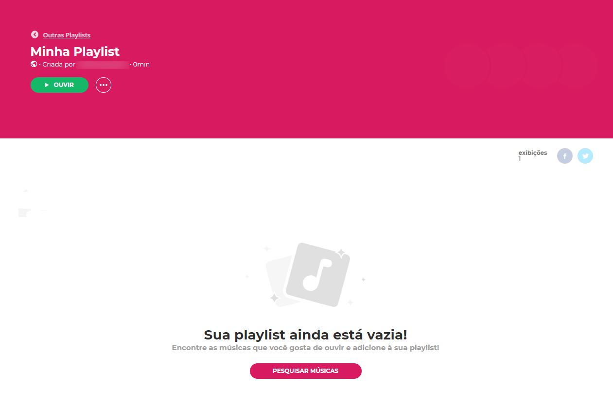 Imagem de criação de playlist no Palco MP3
