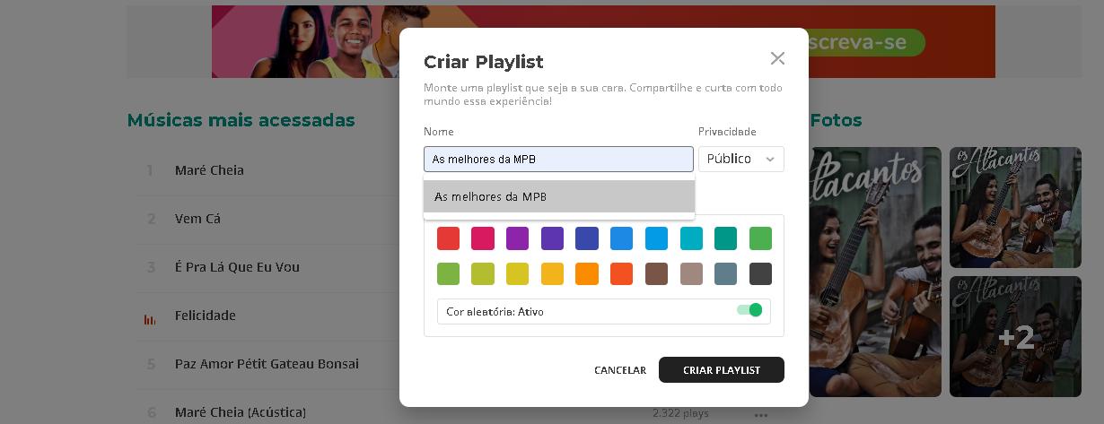 Imagem mostra o box de personalização de playlists do Palco MP3