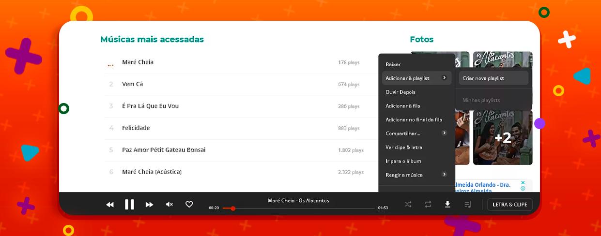 Captura de tela mostra ferramenta de criação de playlist